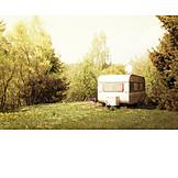 Idyllic scene, Caravans, Camping