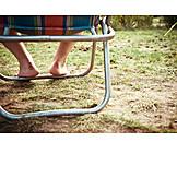 Summer, Sitting, Barefoot, Deck chair, Summer holidays