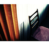 Retro, Chair, Window, 70s, Curtain