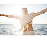 Woman, Happy, Holiday & Travel, Sea, Summer, Arms Outstretched, Freedom