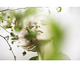 Young Woman, Closed Eyes, Enjoyment & Relaxation, Spring