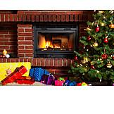 Christmas, Christmas eve, Christmas present, Fireplace
