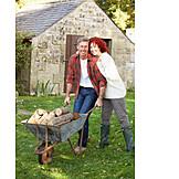 Couple, Farm, Wheelbarrow