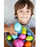 Boy, Easter eggs