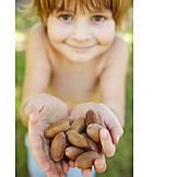 Boy, Collecting, Showing, Acorns
