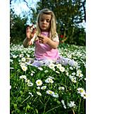 Girl, Flower meadow