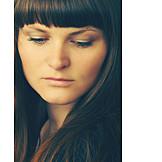 Young Woman, Pensive, Portrait, Close Up