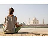 Woman, Yoga, Cross, Legged, Taj mahal, Meditate