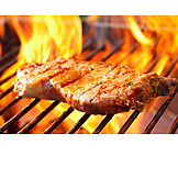 Broiling, Grill, Fire, Beef Steak