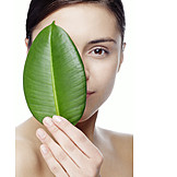 Beauty & Cosmetics, Young Woman, Leaf