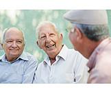 Mann, Senior, Unterhaltung, Besprechung & Unterhaltung, Freunde