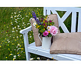 Garden, Flower vase, Bank, Bench