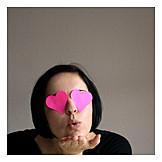 Valentine, Loving, Pink glasses, Blow a kiss