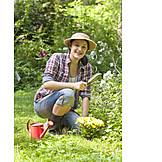 Young Woman, Woman, Garden, Gardening, Planting