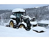 Winter, Tractor, Snowed