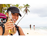 Young Woman, Indulgence & Consumption, Beer, Vacation, Tourist