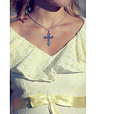Chain, Crucifix, Frilly dress