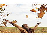 Young woman, Happy, Autumn, Vitality