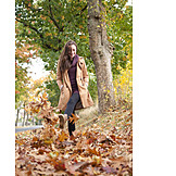 Young woman, Woman, Autumn, Walk