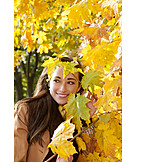 Young woman, Woman, Autumn, Nature relation
