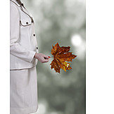Woman, Autumn, Leaf, Maple Tree