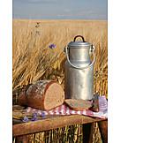 Bread, Milk canister, Rural scene, Rustic