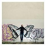Man, Butterfly, Flying, Graffiti