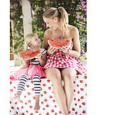 Girl, Woman, Summer, Watermelon, Melon Pieces