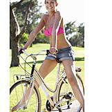 Woman, Summer, Bicycle, Cycling