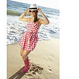 Young Woman, Summer, Vacation, Beach Walking