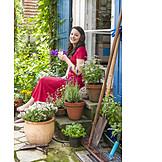 Young Woman, Garden, Relax