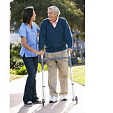 Old Nurse, Walker, Rehabilitation, Physical Therapy, Caregiver