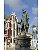 Statue, Bronze statue, Ludvig holberg