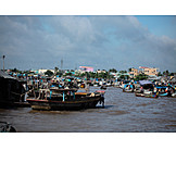 Boot, Handel, Mekong, Schwimmender Markt
