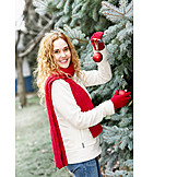 Woman, Christmas, Decorate, Christmas Decoration