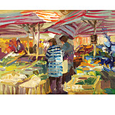 Market, Market stall, Paintings, Weekly market