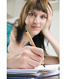 Writing, Schoolgirl, Student, Homework