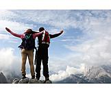 Target, Mountaineering, Mountain top, Mountain tour, Arriving