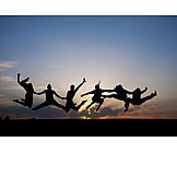 Springen, Lebensfreude, Luftsprung, Freudensprung, Clique
