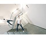 Man, Perspective, Stairway, Corridor