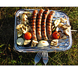 Barbeque, Grilled sausage, Disposable grill