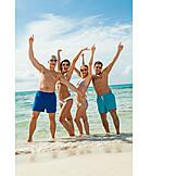 Begeistert, Freunde, Badeurlaub, Jubeln, Strandurlaub