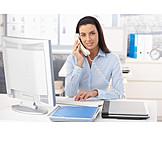 Junge Frau, Geschäftsfrau, Büro & Office, Telefonieren