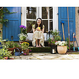 Woman, Domestic life, Garden, Rural scene