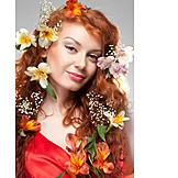 Beauty, Woman, Flowers, Romantic