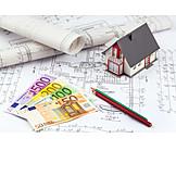 Hausbau, Bauplan, Bausparvertrag, Baufinanzierung