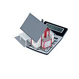 Taschenrechner, Modellhaus, Immobilienkauf, Baufinanzierung