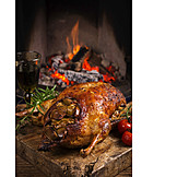 Fireplace, Christmas dinner, Duck meat