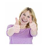 Junge Frau, Begeisterung, Zustimmung