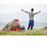 Happy, Freedom & independence, Outdoor, Camping